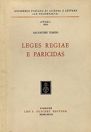 Leges regiae e paricidas.: TONDO Salvatore.