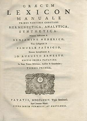Graecum lexicon manuale tribus partibus constans Hermeneutica,: HEDERIC Benjamin.