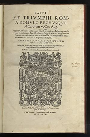 Fasti et triumphi Rom. a Romulo rege: PANVINIO Onofrio.