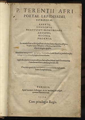 P. Terentii Afri poetae lepidissimi, Comoediae, Andria,: TERENTIUS Afer Publius