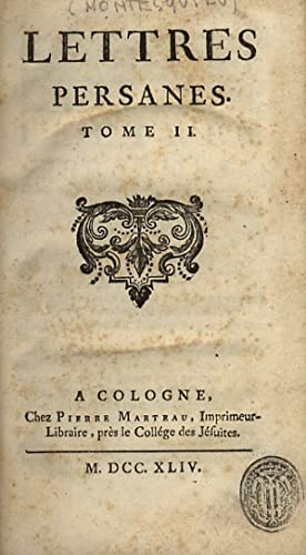 Lettres persanes. Tome II. [Legato con:] [Montesquieu: MONTESQUIEU Charles-Louis de