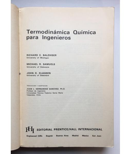 termodinamica quimica para ingenieros balzhiser