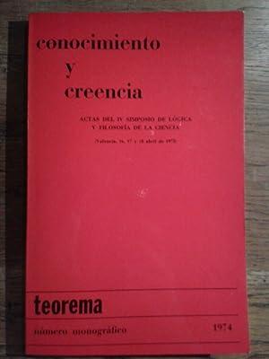 CONOCIMIENTO Y CREENCIA. Actas del IV simposio: David Pears /