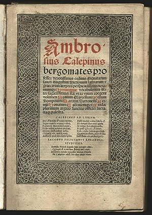 Dictionum latinarum et graecarum i(n)terpretes perspicacissimius omniuque: Calepinus (Calepino) Ambrogio