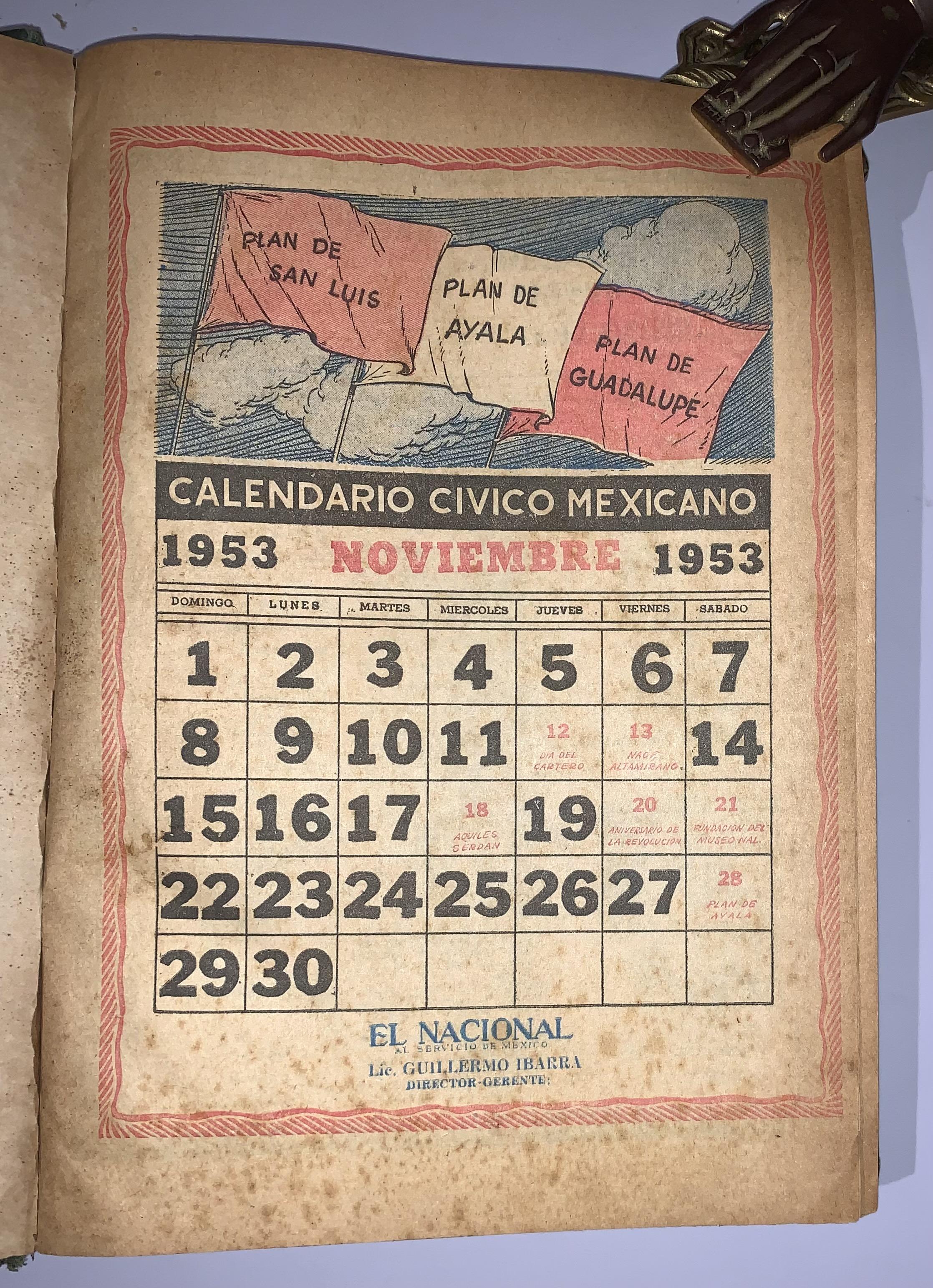 Calendario 1958.Calendario Civico Mexicano Noviembre 1953 A