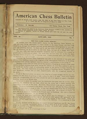 American Chess Bulletin Vol. 28 Nos.1-9. January-December 1931.