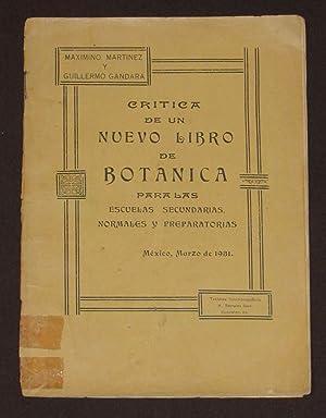 Crítica De Un Nuevo Libro De Botánica: Martinez, Maximino ;