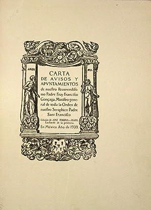 Carta de Avisos y Apuntamientos: Gonzaga, Fray Francisco De