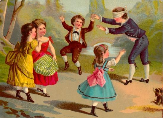 Bambini Che Giocano A Mosca Cieca Foglio Sciolto Libri Antichi E