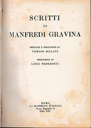 Scritti di Manfredi Gravina. Ordinati e presentati: T. Sillani, a