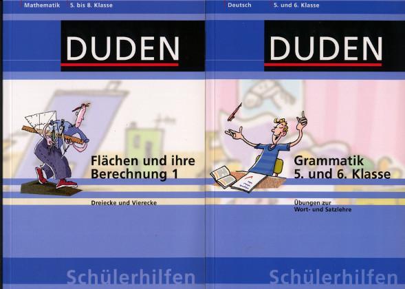 2 Bücher Duden: Deutsch Grammatik 5. und 5. Klasse Übungen zur Wort- und Satzlehre / Mathematik 5. bis 8. Klasse Flächen und ihre Berechnung 1 Dreiecke und Vierecke