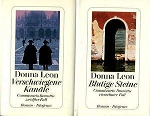 2 Donna Leon Bücher: Blutige Steine /: Leon, Donna