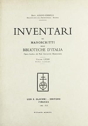 Inventari dei manoscritti delle biblioteche d'Italia. Vol. 73: Roma, Sassari.: AA.VV