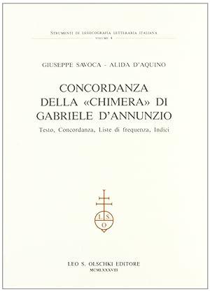 """Concordanza della """"Chimera"""" di Gabriele D'Annunzio. Testo, concordanza, liste di ..."""