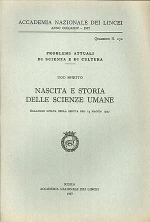 Nascita e storia delle scienze umane.: Spirito, Ugo