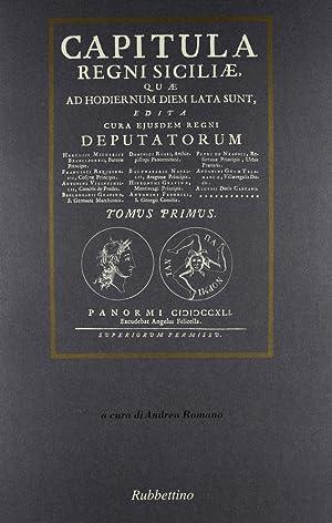Capitula Regni Siciliae (rist. anast. Palermo, 1741).