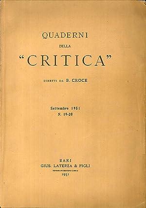 """Quaderni della """"critica"""" settembre 1951 n.19-20.: B Croce"""