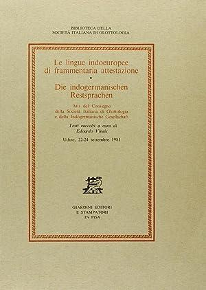 Le lingue indoeuropee di frammentaria attestazione -