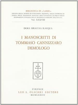 I manoscritti di Tommaso Cannizzaro demologo.: Siracusa Ilacqua, Dora