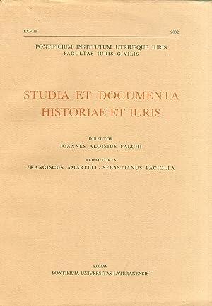 Studia et documenta historiae et iuris. Anno LXVIII-2002.