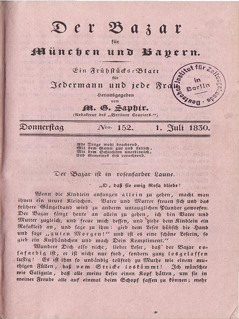 Der Bazar für München und Bayern (Ein: Saphir, M.G. (Hrsg.)