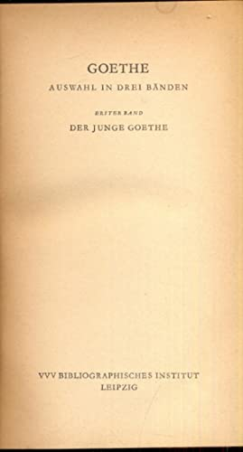 Erster band - in lingua tedesca: Johann Wolfgang Goethe