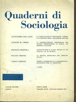 Quaderni di sociologia vol XXVII /1 -: AA.VV.