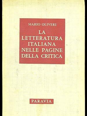 La letteratura italiana nelle pagine della critica: Mario Olivieri