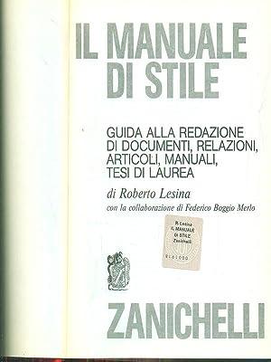 Il manuale di stile: roberto Lesina