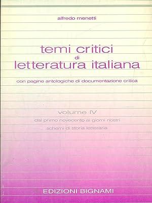 temi critici di letteratura italiana vol IV: Alfredo Menetti
