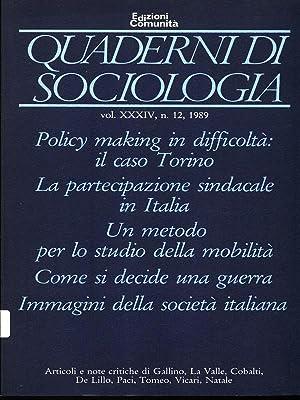 Quaderni di Sociologia - n. 12, 1989: AA.VV.