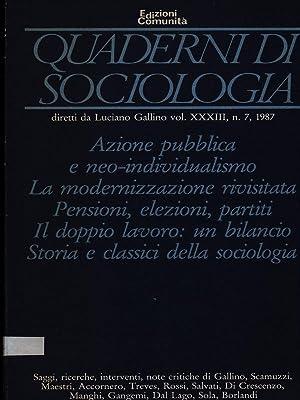 Quaderni di sociologia n. 7/1987: aa.vv.