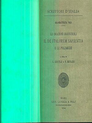 Le orazioni inaugurali il de italorum sapientia: Giambattista Vico