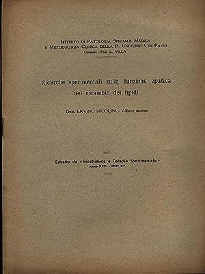 Ricerche sperimentali sulla funzione epatica nel ricambio: Nicolini, Ervinio