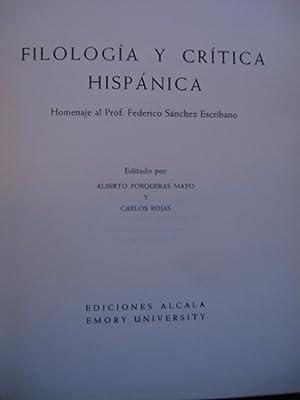 FILOLOGÍA Y CRÍTICA HISPÁNICA. HOMENAJE AL PROFESOR FEDERICO SÁNCHEZ ...