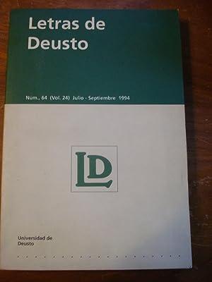 LETRAS DE DUESTO N° 64 (vol.24) JULIO/SEPTIEMBRE 1994: UNIVERSIDAD DE DEUSTO