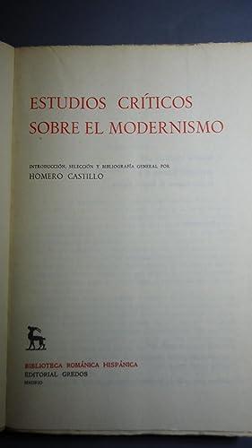 ESTUDIOS CRÍTICOS SOBRE EL MODERNISMO: CASTILLO, Homero (Introducci�n, Selecci�n y ...