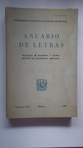 ANUARIO DE LETRAS: UNIVERSIDAD NACIONAL AUT�NOMA DE M�XICO