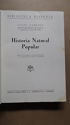 HISTORIA NATURAL POPULAR: CABRERA, Ángel