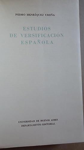 ESTUDIOS DE VERSIFICACIÓN ESPAÑOLA: HENRIQUEZ URE�A, Pedro