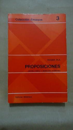 PROPOSICIONES (NOVELA NUEVA Y NARRATIVA ARGENTINA): PLA, Roger