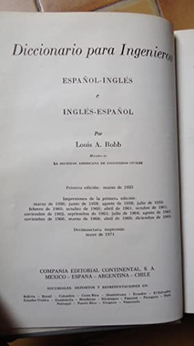 DICCIONARIO DE INGENIEROS. ESPAÑOL/INGLÉS, INGLÉS/ESPAÑOL: ...