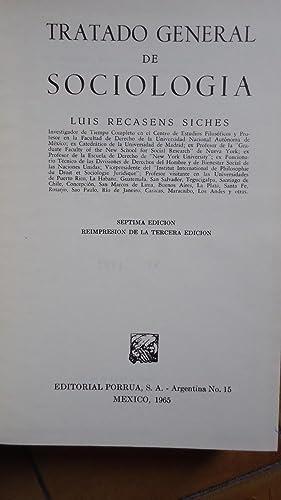 TRATADO GENERAL DE SOCIOLOGÍA: RECASENS SICHES, Luis