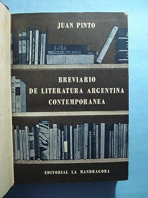 BREVIARIO DE LA LITERATURA ARGENTINA CONTEMPORÁNEA: PINTO, Juan