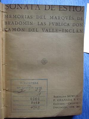 SONATA DE ESTIO. MEMORIAS DEL MARQUÉS DE BRADOMÍN. LOS PUBLICA DON RAMÓN DEL ...