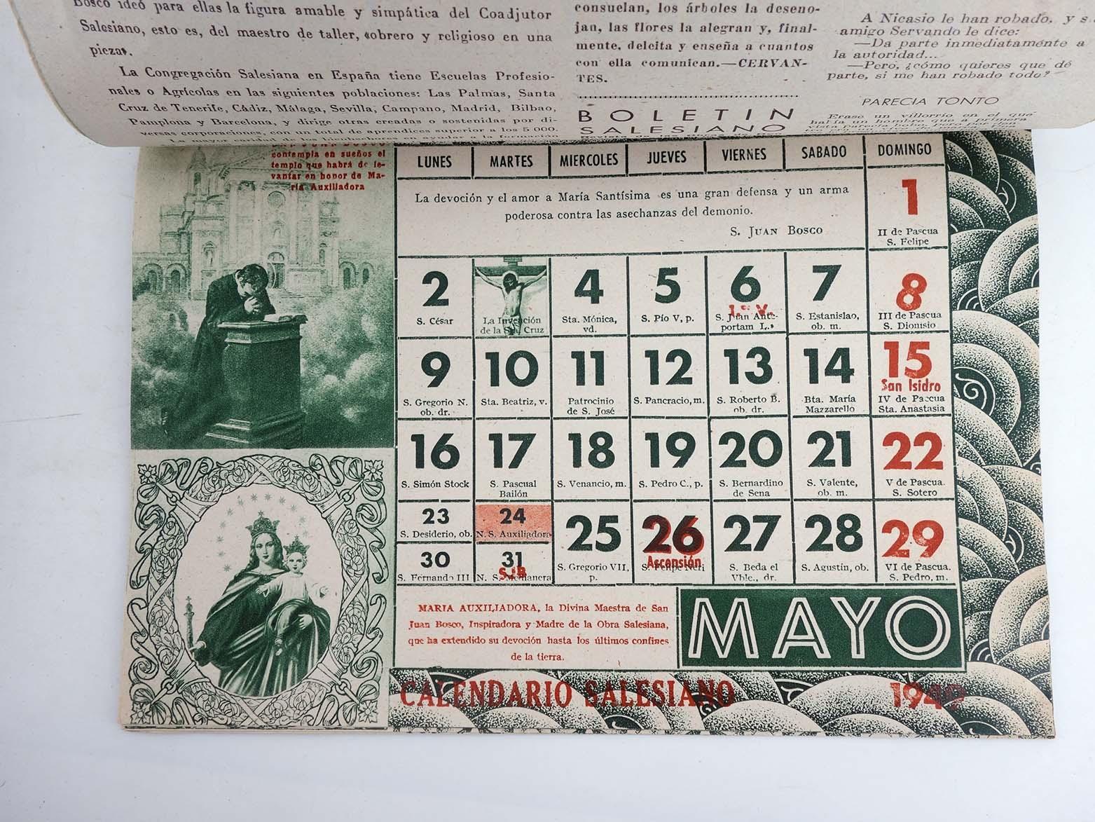 Calendario 1949.Calendario Almanaque Salesiano Falta