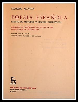 POESIA ESPAÑOLA. Ensayo de Métodos y límites: Damaso Alonso