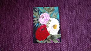 PINTURA MINIATURA ORIGINAL, DIXIE ART, IMPRESSIONIST, MOM LOVED ROSES 2017
