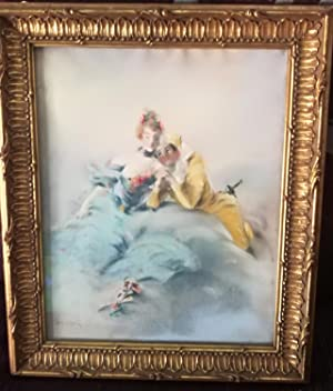 Authentic Antique LOUIS MORIN Pastel Drawing French Masquerade Mask Couple NR