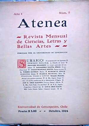 Atenea. Año I.- N° 7.- Octubre, 1924. Revista Mensual de Ciencias, Letras y Bellas Artes